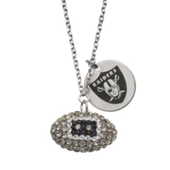 Oakland Raiders Crystal Sterling Silver Team Logo & Football Charm Necklace