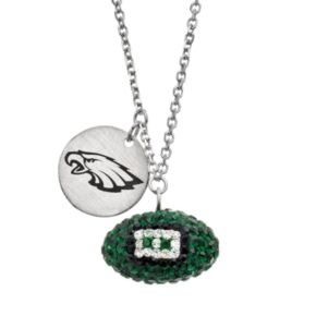 Philadelphia Eagles Crystal Sterling Silver Team Logo & Football Charm Necklace