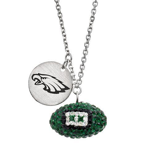 Philadelphia Eagles Crystal Sterling Silver Team Logo & Football Charm Necklace