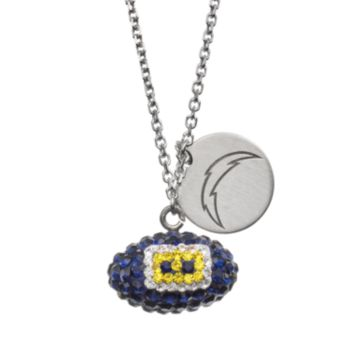 San Diego Chargers Crystal Sterling Silver Team Logo & Football Charm Necklace
