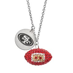 San Francisco 49ers Crystal Sterling Silver Team Logo & Football Charm Necklace