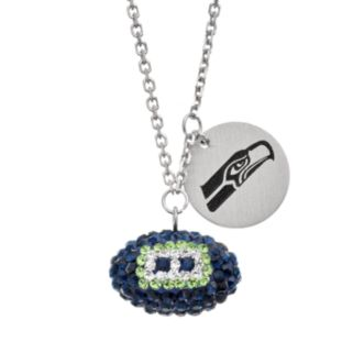 Seattle Seahawks Crystal Sterling Silver Team Logo & Football Charm Necklace