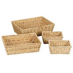 Household Essentials 4-pc. Banana Leaf Wicker Basket Set