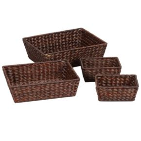 Household Essentials 4-pc. Banana Leaf Wicker Basket Set