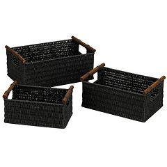 Household Essentials 3 pc Paper Rope Basket Set