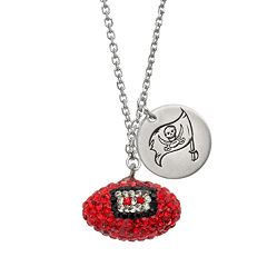 Tampa Bay Buccaneers Crystal Sterling Silver Team Logo & Football Charm Necklace