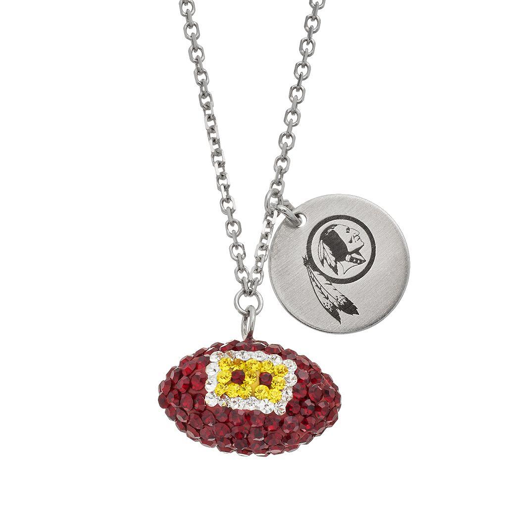 Washington Reskins Crystal Sterling Silver Team Logo & Football Charm Necklace