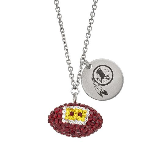 Washington Redskins Crystal Sterling Silver Team Logo & Football Charm Necklace