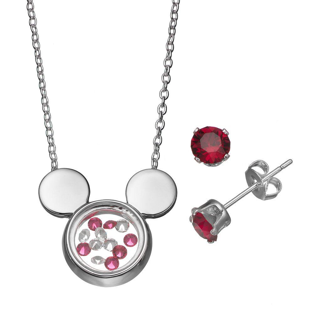 Disney's Mickey Mouse Floating Charm Pendant & Crystal Stud Earring Set