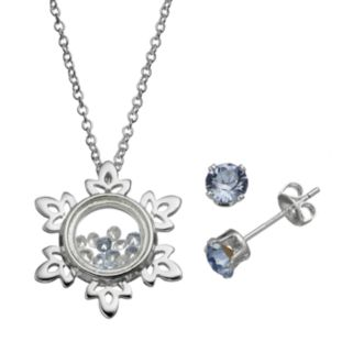 Disney's Frozen Snowflake Floating Charm Pendant & Crystal Stud Earring Set