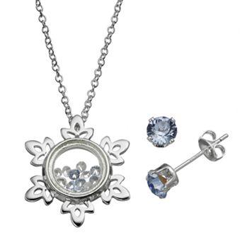 Disney's Frozen Snowflake Floating Charm Pendant & Crystal Stud Earring Set