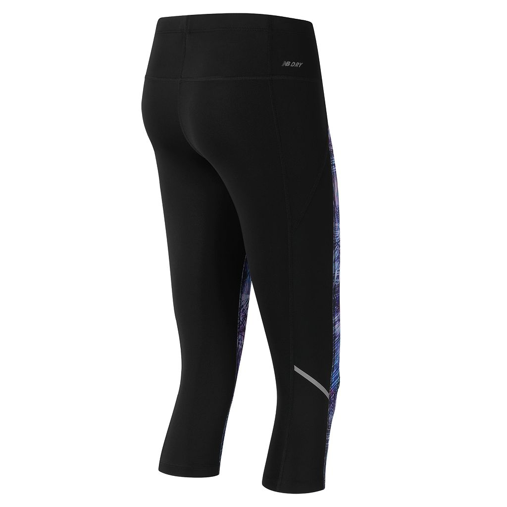 Women's New Balance Printed Accelerate Capri Running Leggings