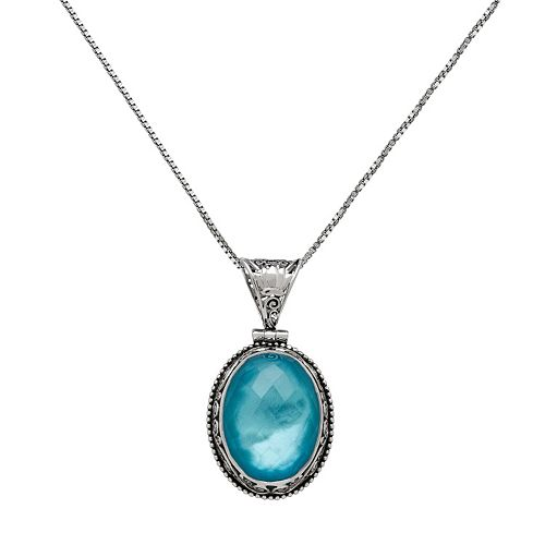Sterling Silver Blue Quartz Oval Pendant Necklace