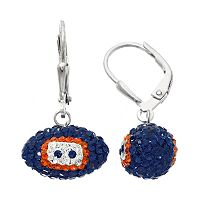 Chicago Bears Crystal Sterling Silver Football Drop Earrings