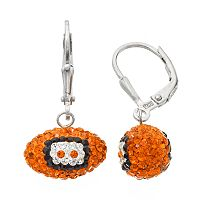 Cincinnati Bengals Crystal Sterling Silver Football Drop Earrings