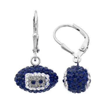 Dallas Cowboys Crystal Sterling Silver Football Drop Earrings