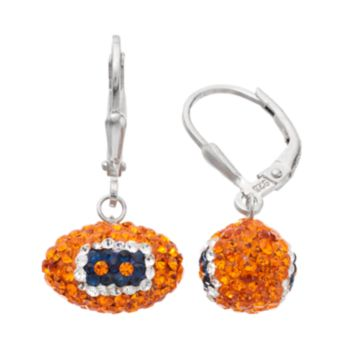 Denver Broncos Crystal Sterling Silver Football Drop Earrings