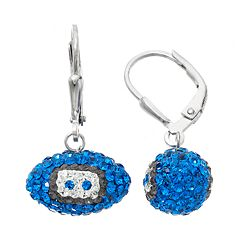 Detroit Lions Crystal Sterling Silver Football Drop Earrings