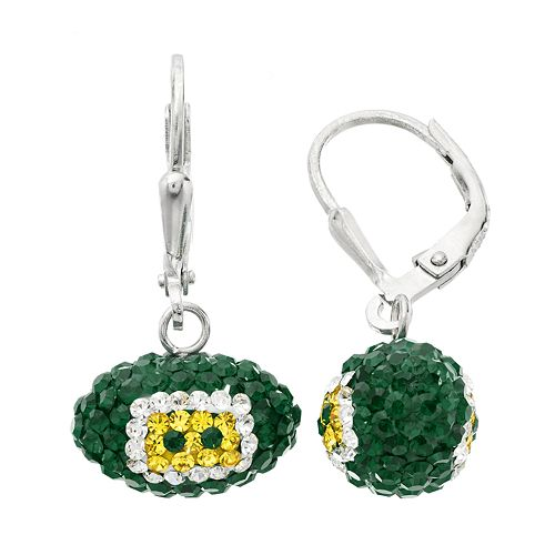 Green Bay Packers Crystal Sterling Silver Football Drop Earrings
