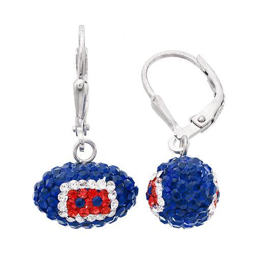 Houston Texans Crystal Sterling Silver Football Drop Earrings