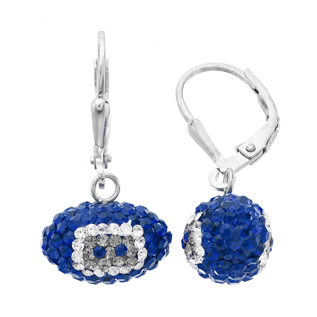Indianapolis Colts Crystal Sterling Silver Football Drop Earrings