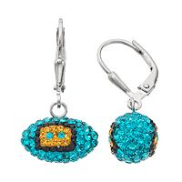 Jacksonville Jaguars Crystal Sterling Silver Football Drop Earrings