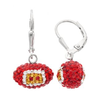 Kansas City Chiefs Crystal Sterling Silver Football Drop Earrings