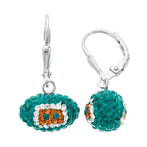 Miami Dolphins Crystal Sterling Silver Football Drop Earrings
