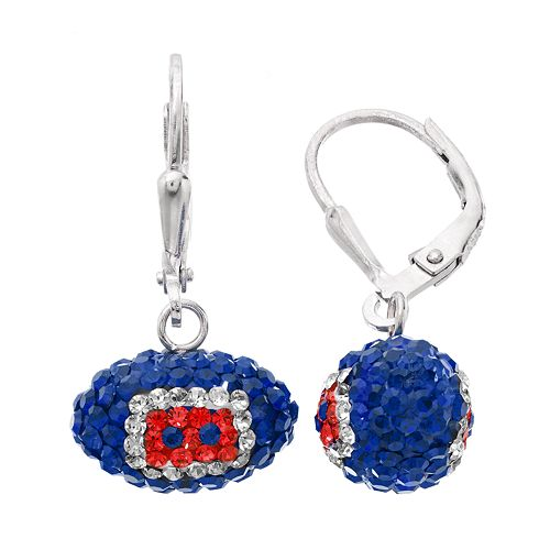New England Patriots Crystal Sterling Silver Football Drop Earrings