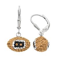 New Orleans Saints Crystal Sterling Silver Football Drop Earrings