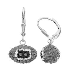 Oakland Raiders Crystal Sterling Silver Football Drop Earrings