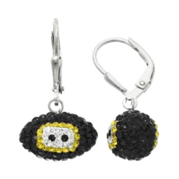 Pittsburgh Steelers Crystal Sterling Silver Football Drop Earrings