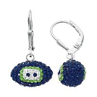 Seattle Seahawks Crystal Sterling Silver Football Drop Earrings