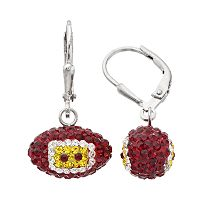 Washington Redskins Crystal Sterling Silver Football Drop Earrings