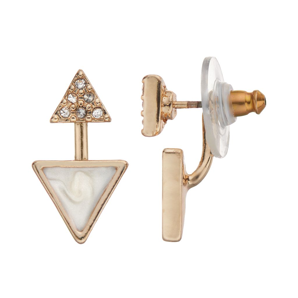 LC Lauren Conrad Triangle Ear Jacket Earrings