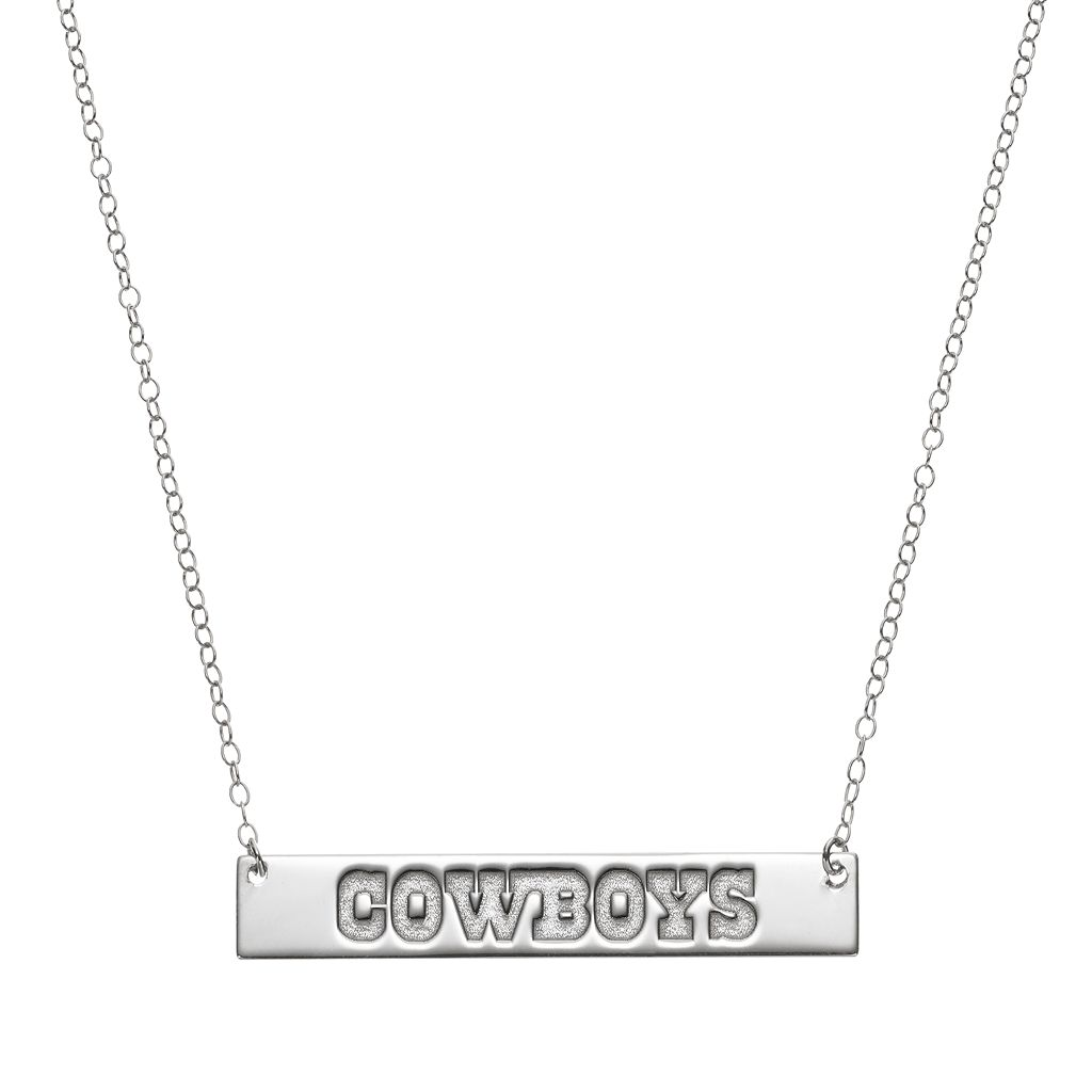 Dallas Cowboys Sterling Silver Bar Link Necklace
