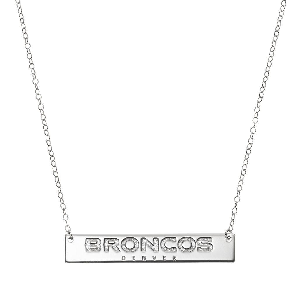 Denver Broncos Sterling Silver Bar Link Necklace