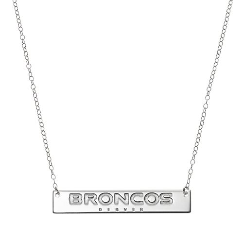 Denver Broncos Sterling Silver Bar Link Necklace