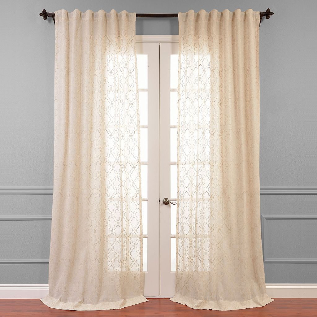 EFF Saida Embroidered Sheer Curtain - 50'' x 96''
