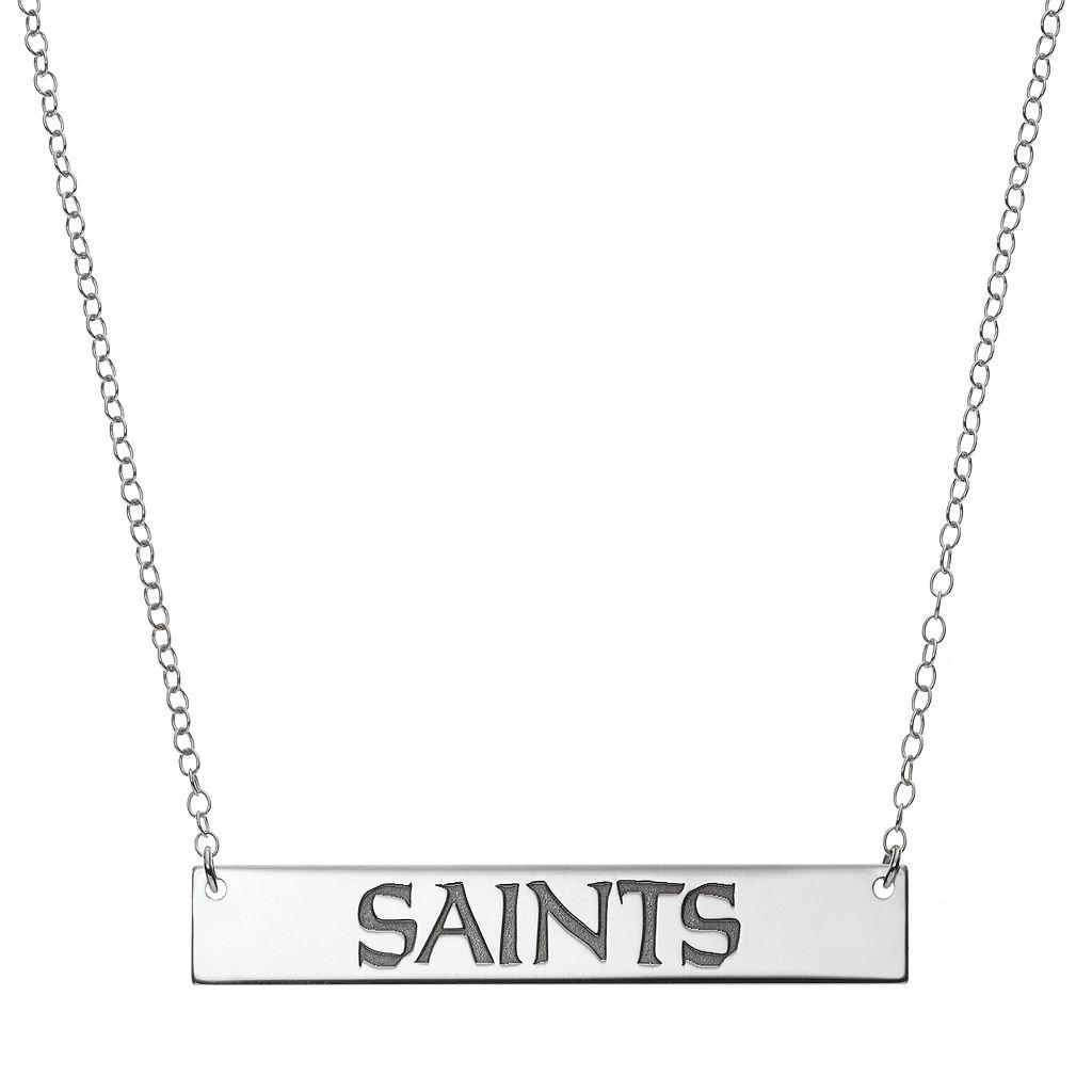 New Orleans Saints Sterling Silver Bar Link Necklace