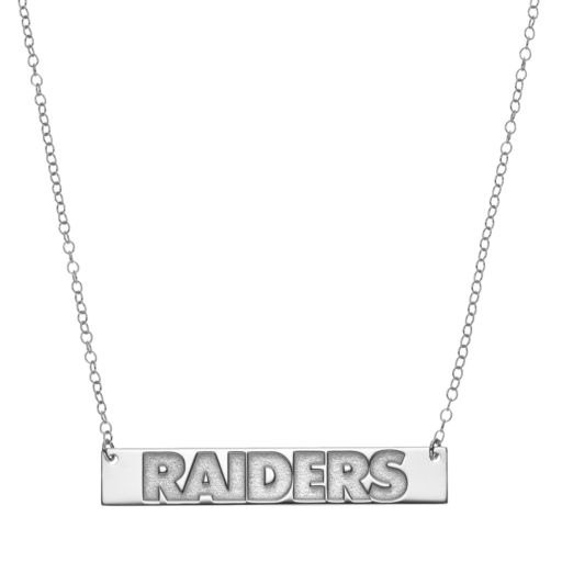 Oakland Raiders Sterling Silver Bar Link Necklace
