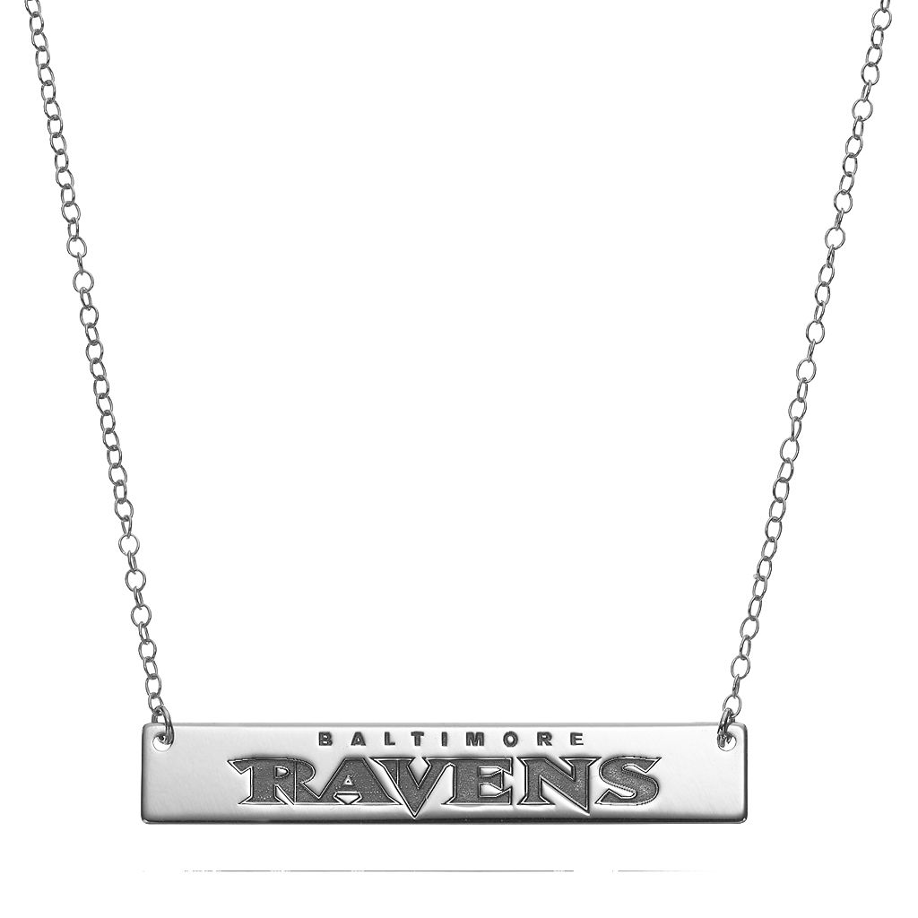 Baltimore Ravens Sterling Silver Bar Link Necklace