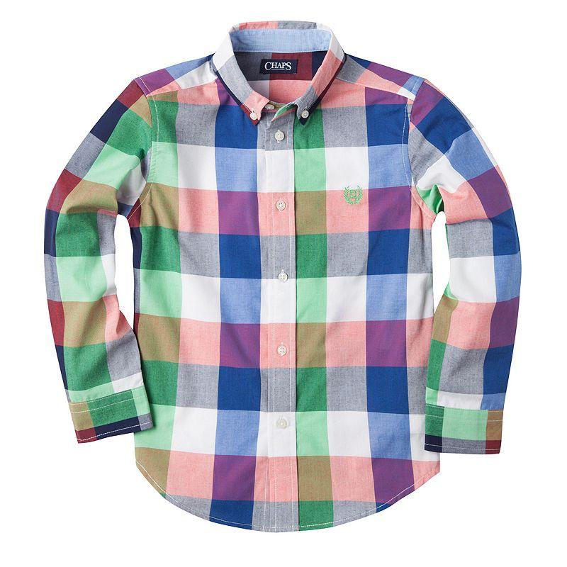 Toddler Boy Chaps Multi-Colored Buffalo-Checkered Plaid Button-Down Shirt