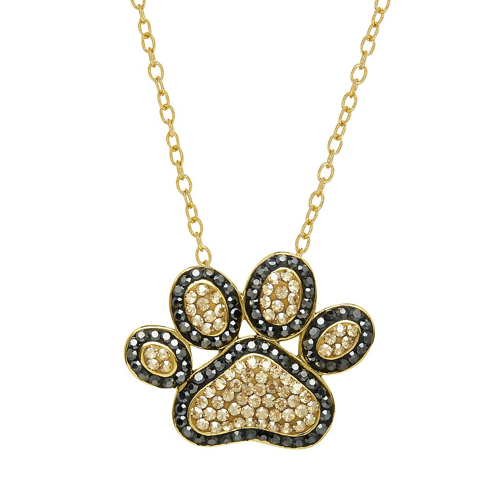 Artistique18k Gold Over Silver Crystal Paw Print Pendant Necklace
