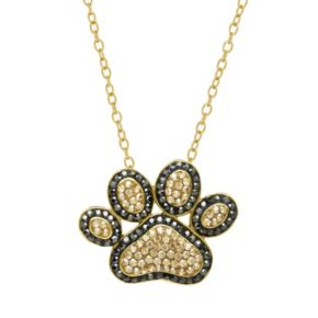 Artistique 18k Gold Over Silver Crystal Paw Print Pendant Necklace