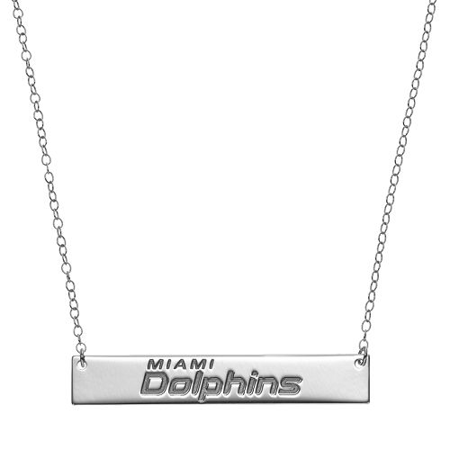 Miami Dolphins Sterling Silver Bar Link Necklace