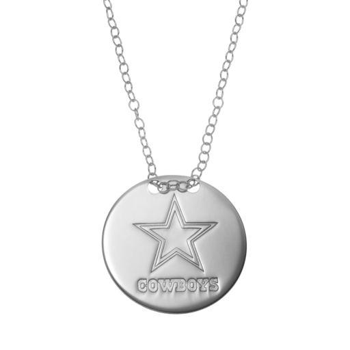 Dallas Cowboys Sterling Silver Team Logo Disc Pendant Necklace