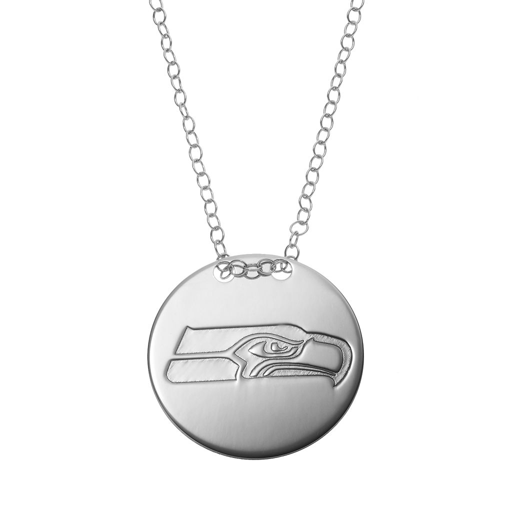 Seattle Seahawks Sterling Silver Team Logo Disc Pendant Necklace