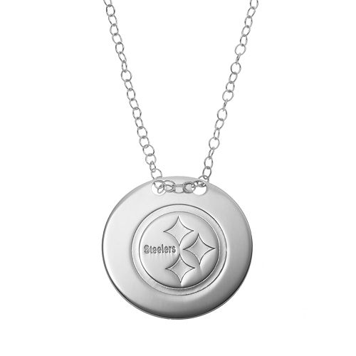Pittsburgh Steelers Sterling Silver Team Logo Disc Pendant Necklace