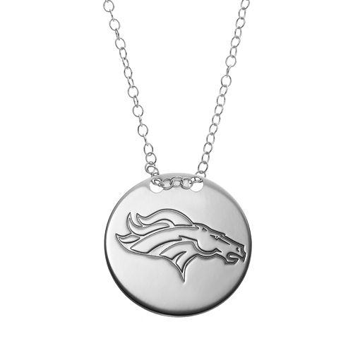 Denver Broncos Sterling Silver Team Logo Disc Pendant Necklace